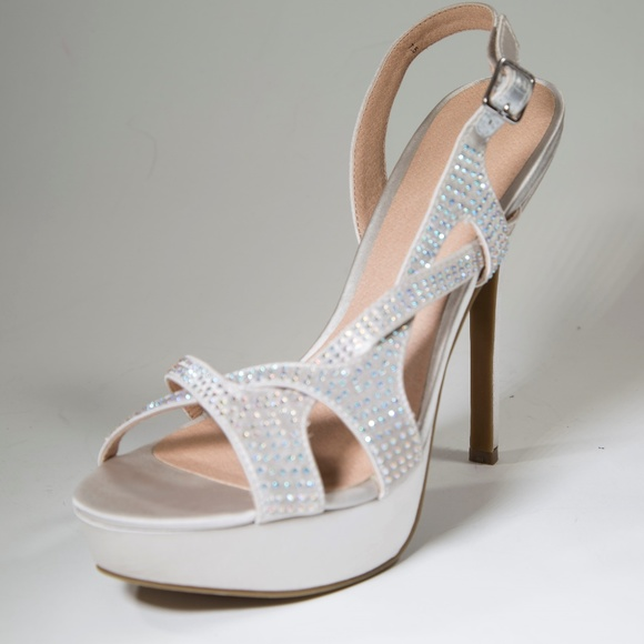 01d5d717ade Champagne Lake Silver Strappy Platform High Heels